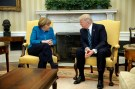 U.S. President Donald Trump meets with Germany's Chancellor Angela Merkel in the Oval Office at the White House in Washington, U.S. March 17, 2017. REUTERS/Jonathan Ernst - RTX31I5V