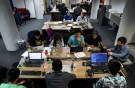 "People work on their computers during a weekend Hackathon event in San Francisco, California, U.S. July 16, 2016. REUTERS/Gabrielle Lurie SEARCH ""LURIE TECH"" FOR THIS STORY. SEARCH ""WIDER IMAGE"" FOR ALL STORIES. - RTS12CJ0"