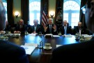 U.S. President Donald Trump (C), flanked by Interior Secretary Ryan Zinke (from L), Secretary of State Rex Tillerson, Defense Secretary James Mattis and Commerce Secretary Wilbur Ross, holds a cabinet meeting at the White House in Washington, U.S. March 13, 2017. REUTERS/Jonathan Ernst - RTX30UWZ