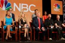 """Executive Producer and host Donald Trump (C) speaks about the NBC television show """"The Celebrity Apprentice"""" during the TCA presentations in Pasadena, California, January 16, 2015. Seen (L-R) are other participants Vivica A. Fox, Geraldo Rivera, Brandi Glanville, Kate Gosselin, executive producer Mark Burnett, Donald Trump, Kenya Moore, Lorenzo Lamas and Ian Ziering. REUTERS/Lucy Nicholson (UNITED STATES - Tags: ENTERTAINMENT PROFILE MEDIA BUSINESS) - RTR4LQWC"""