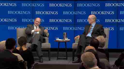 Senator Coons and Strobe Talbott at a Brookings event
