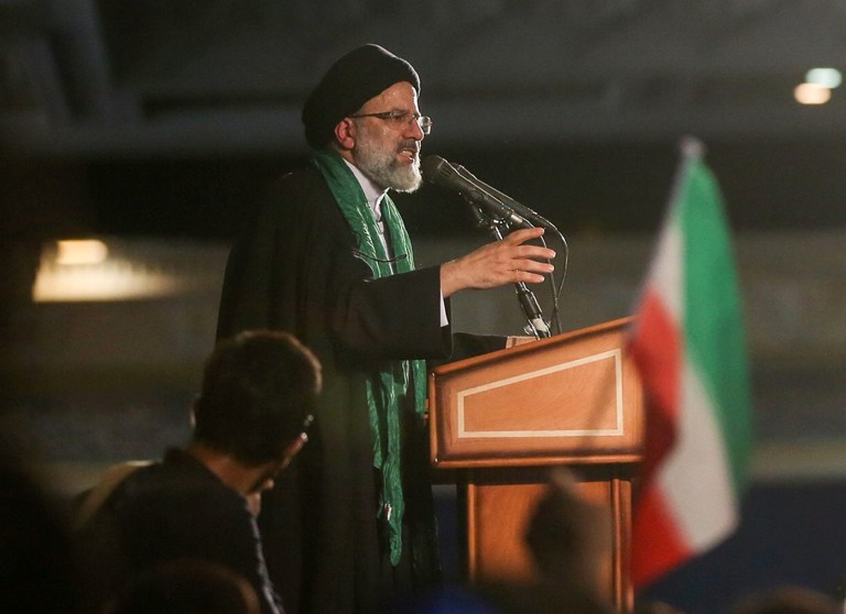 Iranian Presidential candidate Ebrahim Raisi speaks during a campaign meeting at the Mosalla mosque in Tehran, Iran, May 16, 2017. Picture taken May 16, 2017. TIMA via REUTERS ATTENTION EDITORS - THIS IMAGE WAS PROVIDED BY A THIRD PARTY. FOR EDITORIAL USE ONLY. - RTX36OGP