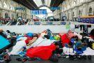 Refugees at Budapest Keleti railway station [photo credit: Rebecca Harms, September 4, 2015]
