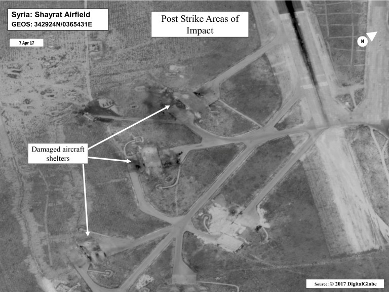 Battle damage assessment image of Shayrat Airfield, Syria, is seen in this DigitalGlobe satellite image, released by the Pentagon following U.S. Tomahawk Land Attack Missile strikes from Arleigh Burke-class guided-missile destroyers, the USS Ross and USS Porter on April 7, 2017. DigitalGlobe/Courtesy U.S. Department of Defense/Handout via REUTERS ATTENTION EDITORS - THIS IMAGE WAS PROVIDED BY A THIRD PARTY. EDITORIAL USE ONLY. MANDATORY CREDIT. - RTX34MOV
