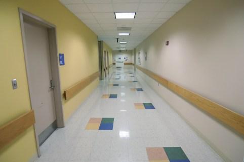 An empty hallway is pictured in a hospital in Philadelphia.