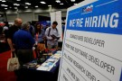 A sign announces the jobs open at the Texas Advanced Computing Center at the Job Market at the South by Southwest Music Film Interactive Festival 2017 in Austin
