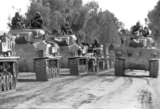 A convoy of Israeli tanks rolls towards the front during the 1967 Middle East War
