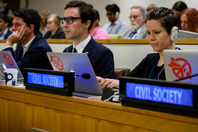 The United Nations conference to negotiate a legally-binding instrument to prohibit nuclear weapons, leading towards their total elimination, continues its work through 7 July. (Photo by UN Photo/Manuel Elias)