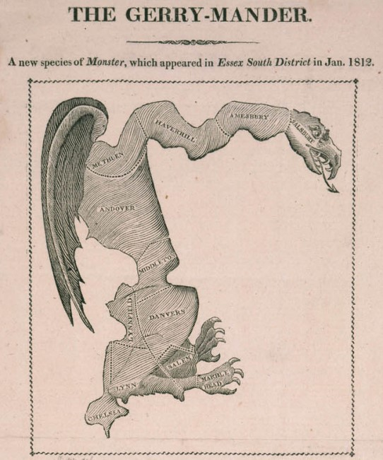 """The Gerry-Mander,"" image from 1812 broadside"