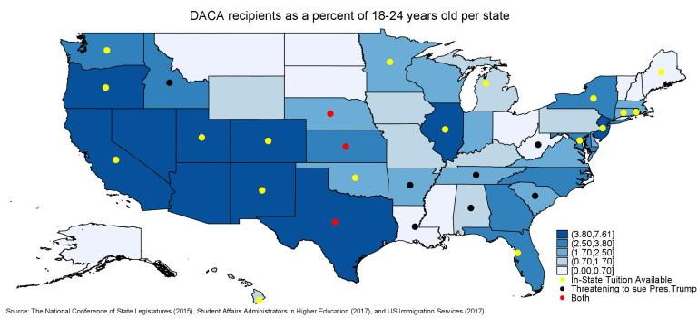 DACA recipients as a percent of 18-24 year olds per state
