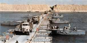 Egyptian vehicles crossing the Suez Canal on October 7, 1973, during the Yom Kippur War.