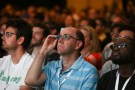 Google Glass-wearing attendees listen to a speaker in the 'Designing for Wearables' session at the Google I/O developers conference in San Francisco June 25, 2014.  REUTERS/Elijah Nouvelage   (UNITED STATES - Tags: BUSINESS SCIENCE TECHNOLOGY) - RTR3VSFX