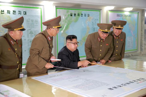 North Korean leader Kim Jong Un inspected the Command of the Strategic Force of the Korean People's Army (KPA) in an unknown location in North Korea in this undated photo released by North Korea's Korean Central News Agency (KCNA) on August 15, 2017. KCNA/via REUTERS REUTERS ATTENTION EDITORS - THIS PICTURE WAS PROVIDED BY A THIRD PARTY. NO THIRD PARTY SALES. SOUTH KOREA OUT. NO COMMERCIAL OR EDITORIAL SALES IN SOUTH KOREA. - RTS1BUH5