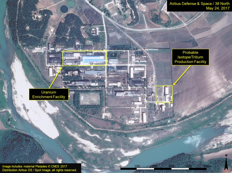"A satellite image of the radiochemical laboratory at the Yongbyon nuclear plant in North Korea by Airbus Defense & Space and 38 North released on July 14, 2017. ""Includes material Pleiades © CNES 2017 Distribution Airbus DS / Spot Image, all rights reserved."" Courtesy Airbus Defense & Space and 38 North/Handout via REUTERS ATTENTION EDITORS - THIS IMAGE WAS PROVIDED BY A THIRD PARTY. MANDATORY CREDIT. NO RESALES. NO ARCHIVES - RTX3BHJ9"