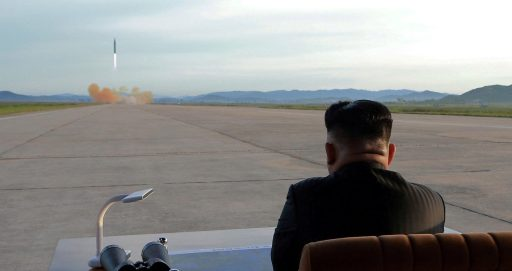 North Korean leader Kim Jong Un watches the launch of a Hwasong-12 missile in this undated photo released by North Korea's Korean Central News Agency (KCNA) on September 16, 2017. KCNA via REUTERS ATTENTION EDITORS - THIS PICTURE WAS PROVIDED BY A THIRD PARTY. REUTERS IS UNABLE TO INDEPENDENTLY VERIFY THE AUTHENTICITY, CONTENT, LOCATION OR DATE OF THIS IMAGE. NO THIRD PARTY SALES. SOUTH KOREA OUT. TPX IMAGES OF THE DAY