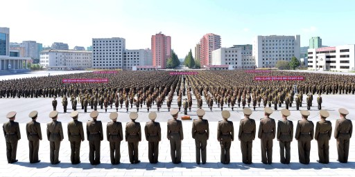 Members of the People's Security Council take part an anti-U.S. rally, in this September 23, 2017 photo released by North Korea's Korean Central News Agency (KCNA) in Pyongyang. KCNA via REUTERS ATTENTION EDITORS - THIS PICTURE WAS PROVIDED BY A THIRD PARTY. REUTERS IS UNABLE TO INDEPENDENTLY VERIFY THIS IMAGE. NO THIRD PARTY SALES. SOUTH KOREA OUT. - RC17C237CE60