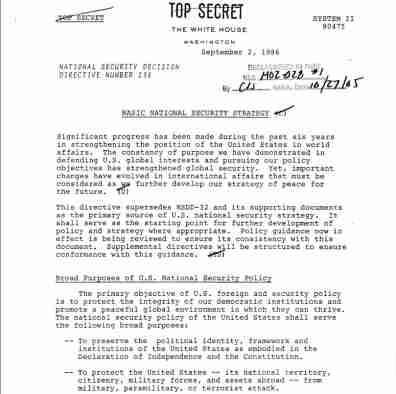 Photo of NSDD 238, a national security strategy in the Reagan administration