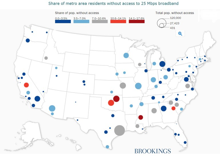 Map: Share of metro area residents without access to 25 Mbps broadband