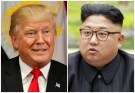 A combination photo shows Trump in New York and North Korean leader Jong Un in Pyongyang,