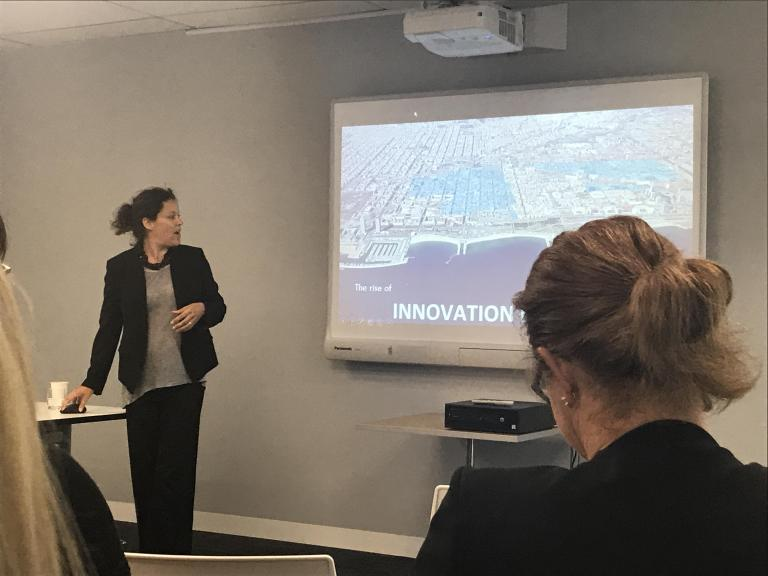 """Brilliant session on INNOVATION ECOSYSTEMS with Julie Wagner from the The Brookings Institution today in Melbourne thanks to the #fishermansbend team for inviting Tim O'Loan and I along."" Photo: Trudy-Ann King on LinkedIn."