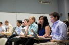 Stanford University students listen while classmates make a presentation to a group of visiting venture capitalists during their Technology Entrepreneurship class in Stanford, California March 11, 2014.  REUTERS/Stephen Lam (UNITED STATES - Tags: EDUCATION) - GF2EA3C0D2601