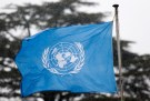 A United Nations flag flies outside the the European headquarters of the United Nations ahead of new round of meetings for the Syria talks in Geneva, Switzerland, March 16, 2016. REUTERS/Denis Balibouse - LR1EC3G0P9FHX