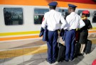 Kenya Railways attendants receive a train, launched to operate on the Standard Gauge Railway (SGR) line constructed by the China Road and Bridge Corporation (CRBC) and financed by Chinese government, as it arrives at the Nairobi Terminus on the outskirts of Nairobi, Kenya May 31, 2017. REUTERS/Thomas Mukoya - RC16DF2D1380