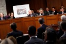 Facebook's Stretch, Twitter's Edgett, and Google's Salgado testify before a Senate Judiciary subcommittee hearing on alleged Russian interference in the 2016 U.S. elections, in Washington