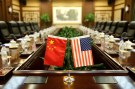 Flags of U.S. and China are placed for a meeting between Secretary of Agriculture Sonny Perdue and China's Minister of Agriculture Han Changfu at the Ministry of Agriculture in Beijing, China June 30, 2017. REUTERS/Jason Lee - RC1A8F925660