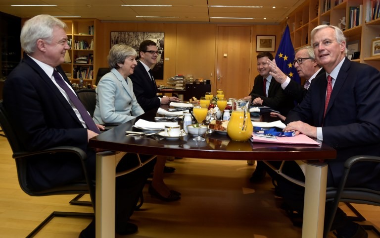(L to R) Britain's Secretary of State for Exiting the European Union David Davis, Britain's Prime Minister Theresa May, European Commission President Jean-Claude Juncker and European Union's chief Brexit negotiator Michel Barnier meet at the European Commission in Brussels, Belgium, December 8, 2017. REUTERS/Eric Vidal - RC1FA1277AE0