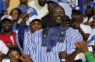George Weah, former soccer player and presidential candidate of Congress for Democratic Change (CDC), reacts while a speech during the party's presidential campaign rally at Samuel Kanyon Doe Sports Complex in Monrovia, Liberia, December 23, 2017. REUTERS/Thierry Gouegnon - RC1E1EC3A900