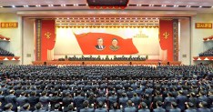 Attendants of the 5th Conference of Cell Chairpersons of the Workers' Party of Korea (WPK) hold a meeting to accept a pledge for North Korean leader Kim Jong-un, in this photo released by North Korea's Korean Central News Agency (KCNA) in Pyongyang December 26, 2017. KCNA/via REUTERS