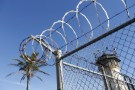 A guard tower is seen during a media tour of California's Death Row at San Quentin State Prison.