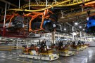 Automated Guided Vehicles transport the chassis for 2018 Chevrolet Bolt EV vehicles on the assembly line at General Motors Orion Assembly in Lake Orion, Michigan, U.S., March 19, 2018.  Photo taken March 19, 2018.   REUTERS/Rebecca Cook - RC1E0AB539F0