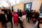 People wait in a line to vote at a polling station in Rome, Italy March 4, 2018. REUTERS/Yara Nardi