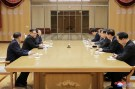 North Korean leader Kim Jong Un meets members of the special delegation of South Korea's President in this photo released by North Korea's Korean Central News Agency (KCNA) on March 6, 2018. KCNA/via Reuters ATTENTION EDITORS - THIS PICTURE WAS PROVIDED BY A THIRD PARTY. REUTERS IS UNABLE TO INDEPENDENTLY VERIFY THE AUTHENTICITY, CONTENT, LOCATION OR DATE OF THIS IMAGE. NO THIRD PARTY SALES. SOUTH KOREA OUT. - RC195AC14980