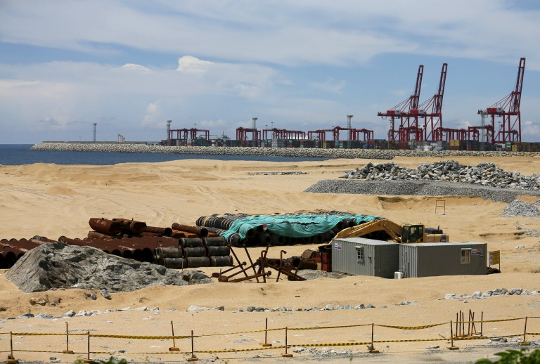 """The China-funded """"Colombo Port City"""" project, whose development is suspended, is seen in Colombo"""