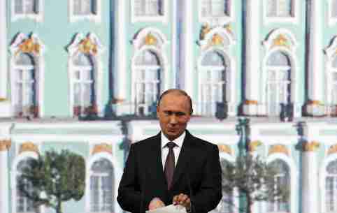 Russian President Vladimir Putin speaks during a session of the St. Petersburg International Economic Forum 2015 (SPIEF 2015) in St. Petersburg, Russia, June 19, 2015. Putin said on Friday Russia was doing well in tackling its economic crisis, aggravated by Western sanctions over the Ukraine crisis and a fall in global oil prices. REUTERS/Grigory Dukor - GF10000133125