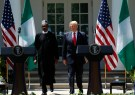 U.S. President Donald Trump arrives for a joint news conference with Nigeria's President Muhammadu Buhari in the Rose Garden of the White House in Washington, U.S., April 30, 2018. REUTERS/Kevin Lamarque - HP1EE4U1D88ID