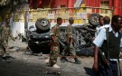 Somali government soldiers secure the scene of an attack on a restaurant by the Somali Islamist group al Shabaab in the capital Mogadishu, Somalia, October 1, 2016. REUTERS/Feisal Omar - S1BEUEMCYWAA