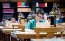 First-year law student Christopher Healy studies in Doe Library at the University of California at Berkeley in Berkeley, California May 12, 2014.    REUTERS/Noah Berger  (UNITED STATES - Tags: EDUCATION) - GF2EA5D0QYS01