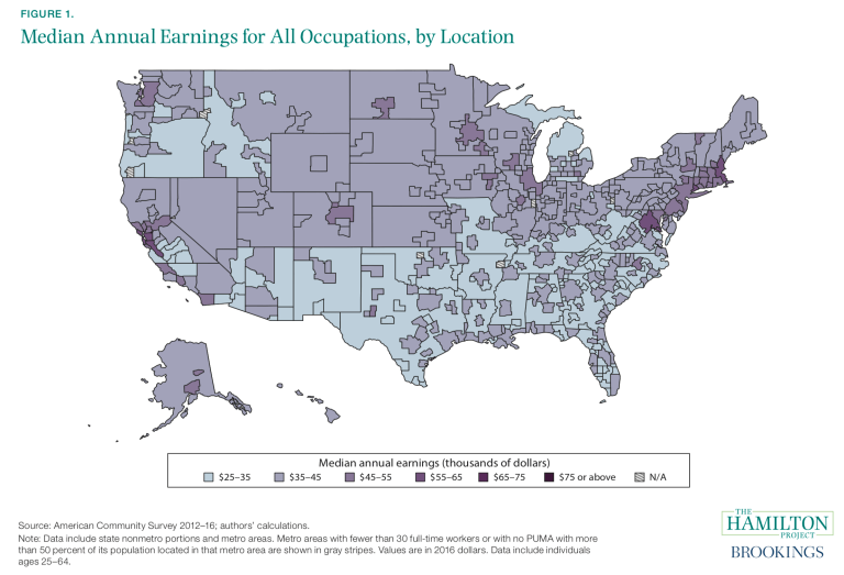 Median Earnings for All Occupations, by Location