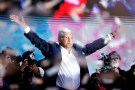 Presidential candidate Andres Manuel Lopez Obrador gestures as he addresses supporters after polls closed in the presidential election, in Mexico City, Mexico July 2, 2018. REUTERS/Goran Tomasevic - RC1A71135450