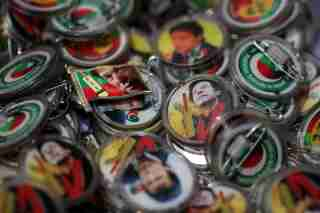 Pins with images of Imran Khan, leader of the Pakistan Tehreek-e-Insaf (PTI), are pictured at a market a day after general election in Islamabad, Pakistan, July 26, 2018. REUTERS/Athit Perawongmetha - RC11759567A0