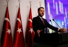 Turkish Treasury and Finance Minister Berat Albayrak speaks during a presentation to announce his economic policy in Istanbul, Turkey August 10, 2018. REUTERS/Murad Sezer - RC12DA6F1BF0