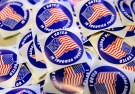 """I voted"" stickers are on display for voters in the U.S. presidential election at Grace Episcopal Church in The Plains, Virginia, U.S., November 8, 2016.      REUTERS/Joshua Roberts - HT1ECB8183K3O"