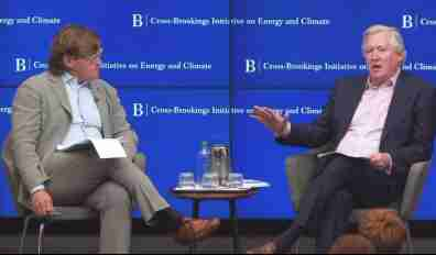 David Victor and Exelon CEO Chris Crane on the Brookings stage