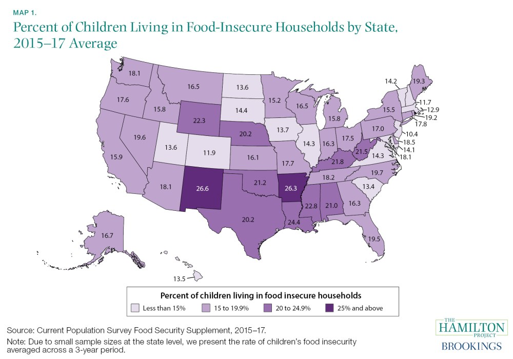 map of percent of children living in food-insecure households by state