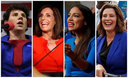 FILE PHOTO: L-R: U.S. Democratic congressional candidate Amy McGrath of Kentucky, Republican U.S. Senate candidate Martha McSally of Arizona, Democratic congressional candidate Alexandria Ocasio-Cortez of New York and Democratic candidate for Governor Gretchen Whitmer of Michigan are shown in this combination photo from Reuters files.  REUTERS/File Photos - RC1ADA9D8480