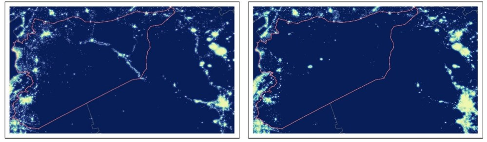 Syria light by satellite